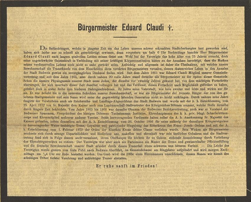 Parte na titulní straně českobudějovického německého listu