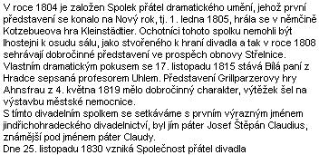 """""""Páter Claudy"""" stál i u počátků jindřichohradeckého divadla"""