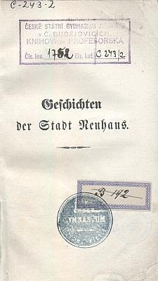 Obálka jeho knihy o historii Jindřichova Hradce (1850) s razítkem českobudějovického gymnázia