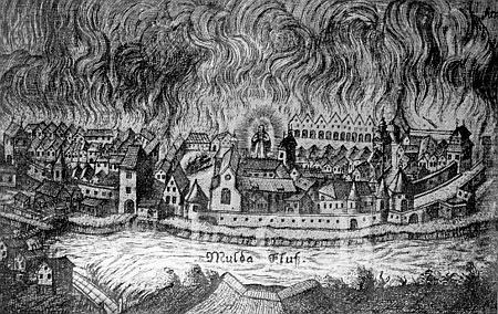 Požár v Českých Budějovicích roku 1641 na vyobrazení Daniela Wussina