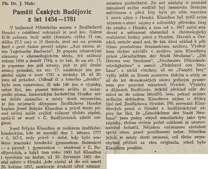 Úvod článku Jana Muka, za nímž následuje Claudiův text