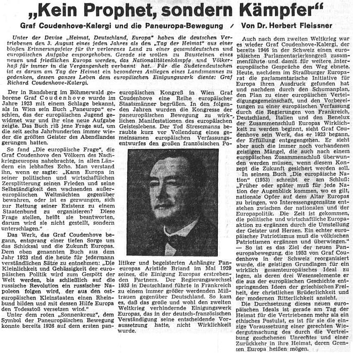 """Článek o něm se objevil na stránkách ústředního listu vyhnaných krajanů v srpnu 1953 ke třicátému výročí vydání jeho knihy """"Paneuropa"""""""