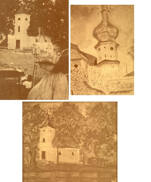 Matka při malování dnes zaniklé kaple sv. Kryštofa u zámečku Diana a její dva obrazy,z nichž jeden zpodobňuje zmíněnou kapli a druhý věž klášterního kostela v Pivoni