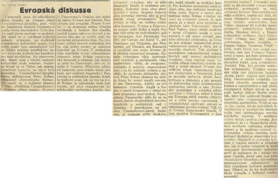 Zajímavý článek Alfreda Fuchse (1892-1941), mučedníka z Dachau, na stránkách českobudějovického lidoveckého listu o Panevropě a katolictví