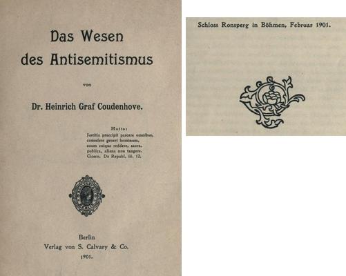 Titulní list a závěrečná datace  předmluvy k jeho knize o antisemitismu