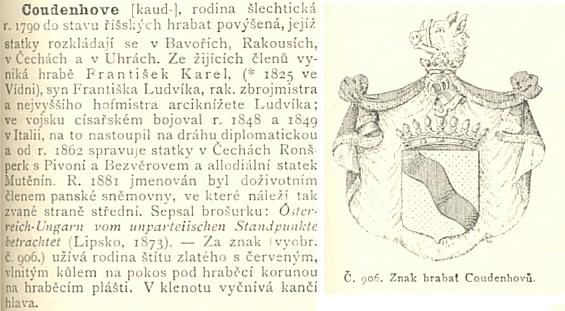 O rodu Coudenhove v Ottově slovníku naučném se zmínkou o Heinrichově otci