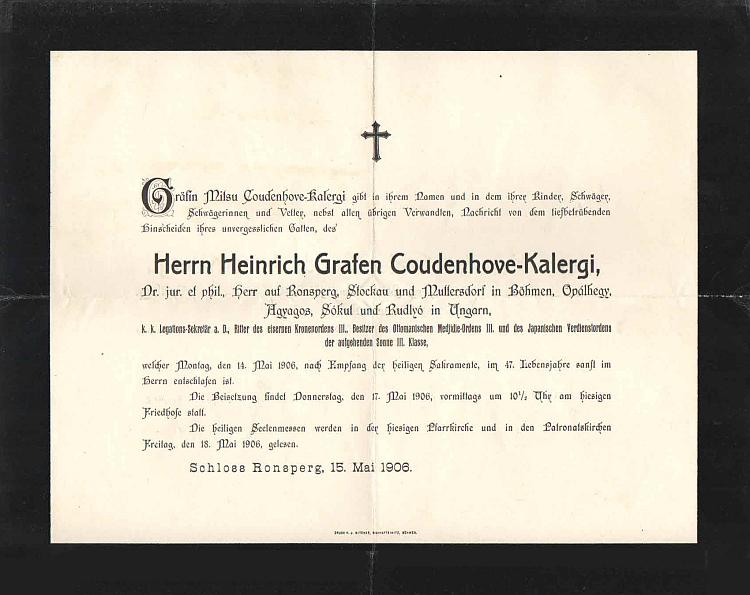 Jeho úmrtní oznámení, vydané hraběnkou Mitsu Coudenhove-Kalergi jménem svým, svých dětí a příbuzných