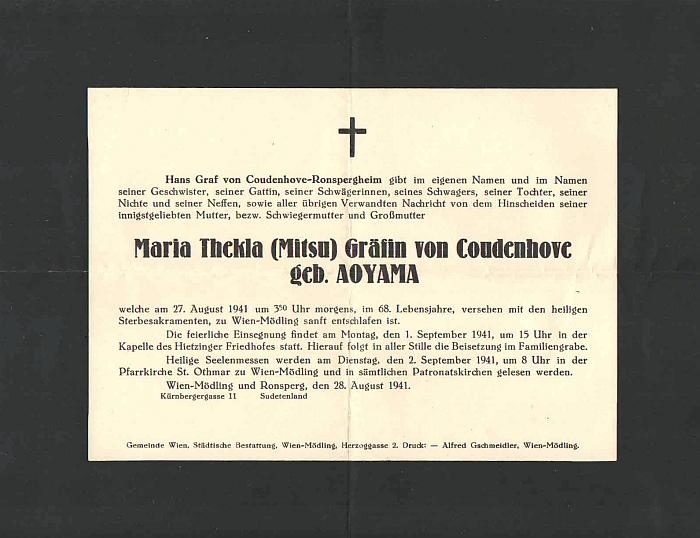 Mitsu Coudenhove krátce před svou smrtí v Mödlingu a její parte z roku 1941