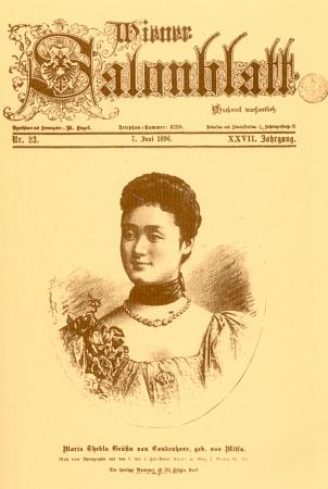 Na titulní straně časopisu Wiener Salonblatt z roku 1896