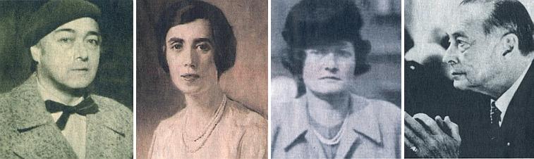 On, jeho žena Lilly a sourozenci Olga a Richard na podobenkách z různých dob