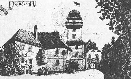 Dva pohledy na zámek v Poběžovicích na starých pohlednicích