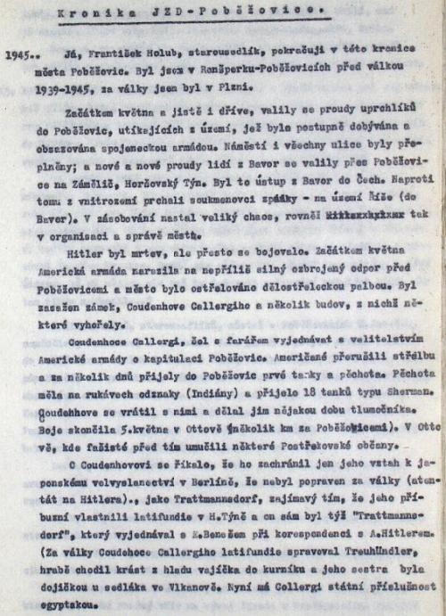 Stránka z poběžovické kroniky, kde se tvrdí, že měl roku 1945 egyptskou státní příslušnost