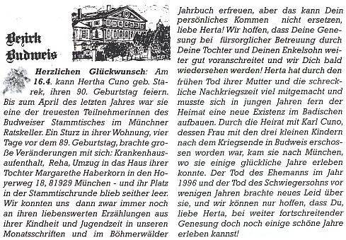 Obsáhlejší připomínkou jejích devadesátin bylo blahopřání Margarethe Hamlelové v budějovické rubrice časopisu Hoam!