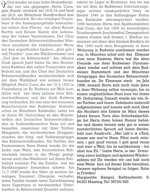 Nekrolog na stránkách krajanského měsíčníku, jehož autorkou se stala rovněž Margarethe Hampelová