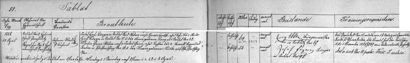 Záznam o jeho druhé svatbě v 69 letech věku v záblatské oddací matrice