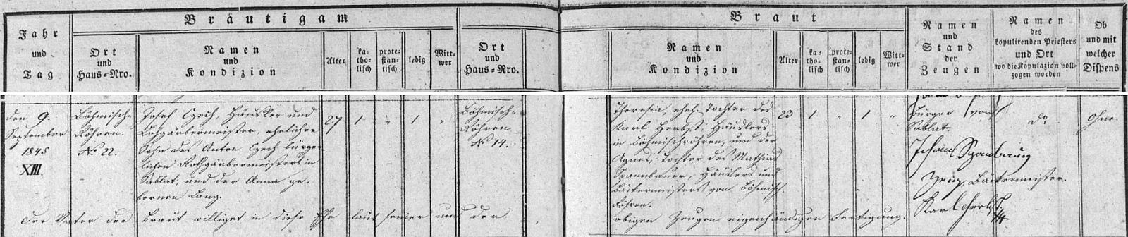 Záznam o jeho první svatbě dne 9. září roku 1845 v oddací matrice farní obce České Žleby