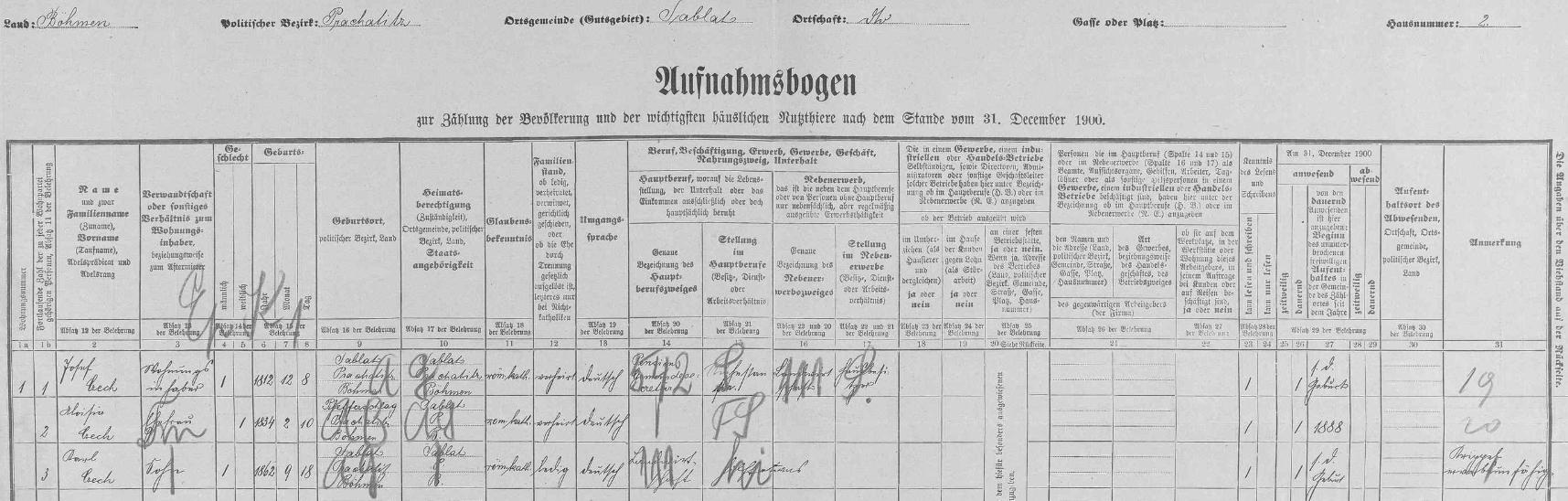 Arch sčítání lidu z roku 1900 pro dům v Záblatí čp. 2 uvádí chybné datum jeho narození