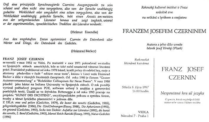 Pozvánka do rakouské literární kavárny v Praze (1997)
