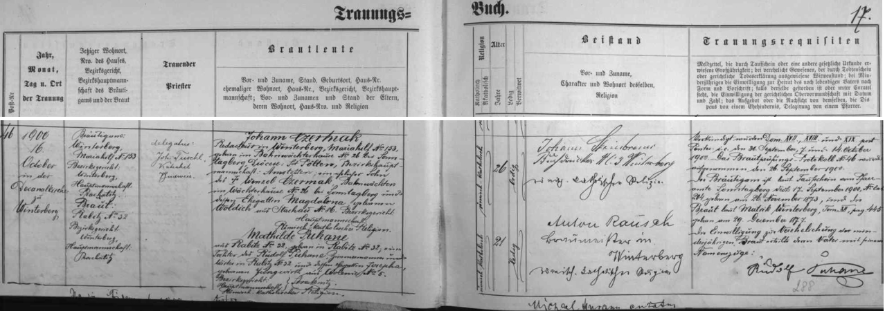 Záznam vimperské matriky o jeho zdejší svatbě s Mathilde Puhaneovou, dcerou tesaře a hostinského z Hrabic, je provázen podpisem Johanna Steinbrenera - dovídáme se tu, že ženich je synem železničního hlídače Wenzela Czermaka a Magdaleny, roz. Woldřichové ze Stach čp. 86