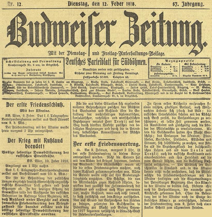 Už 9. února roku 1918, tedy přesně 10 měsíců předtím, než skonal na lůžku lvovského špitálu, byl s Ukrajinou uzavřenmír