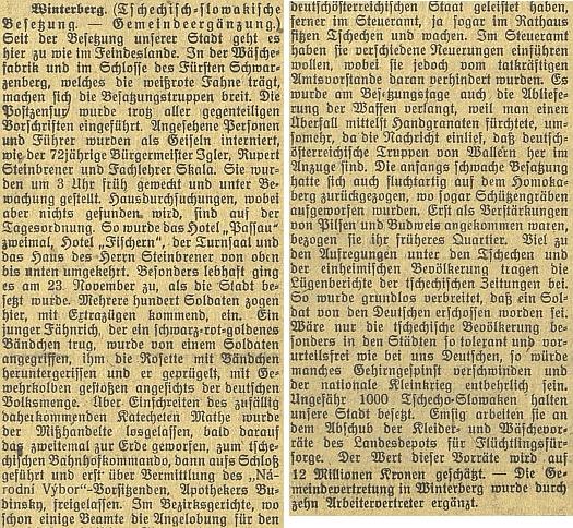 """Týden po jeho smrti v dáli referuje budějovický německý list o Čechy """"okupovaném"""" Vimperku, kde to prý """"chodí jako v nepřátelské zemi"""""""