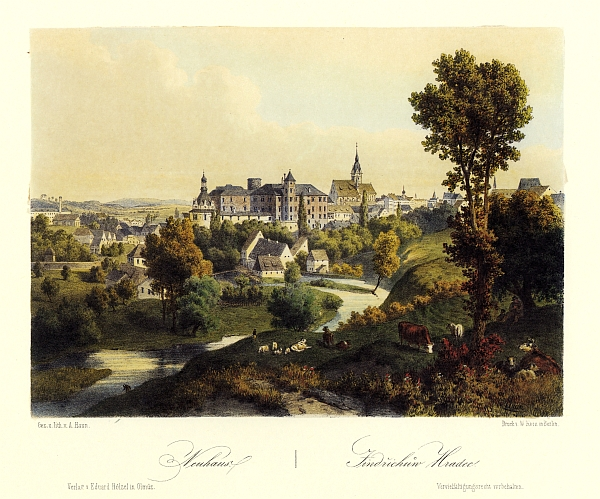 ... a na barevné litografii Augusta Hauna (1864)...
