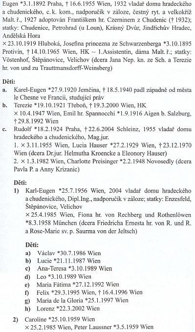 """Jeho rodový záznam v Almanachu českých šlechtických rodů dosvědčuje, že jeho rodiče se brali v roce 1919 na Hluboké, matka byla titulem """"princezna ze Schwarzenberga"""", on, jeho otec i jeho syn pak jsou po rodové linii """"Vladaři domu hradeckého a chudenického"""""""