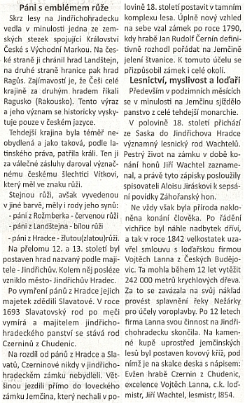 """Pasáž z inzertního článku """"Za odkazem lesnického rodu Wachtelů"""" svědčí o souvislosti Jindřichohradecka se Šumavou"""