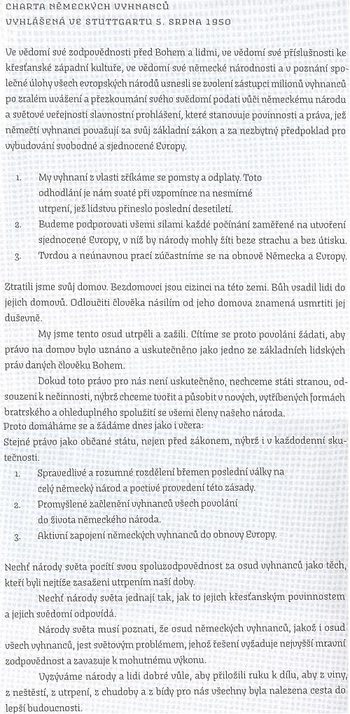 Charta německých vyhnanců v českém překladu