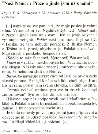 Masarykův dopis Benešovi z 28. prosince 1918 se zmiňuje i o Ottokaru Czerninovi a jeho synovi
