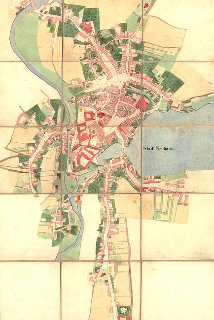 Jindřichův Hradec na indikační skize stabilního katastru zroku1828...