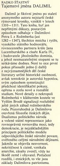 """Obálka knihy vydané nakladatelstvím Melantrich (1991), """"odhalující"""" vDalimilovi Petra I. z Rožmberka (asi 1282-1347) - Šťastného hypotéza oautorovi nebyla českou historiografií přijata, jak o tom svědčí vědecká edice Dalimilovy kroniky od Marie Bláhové"""