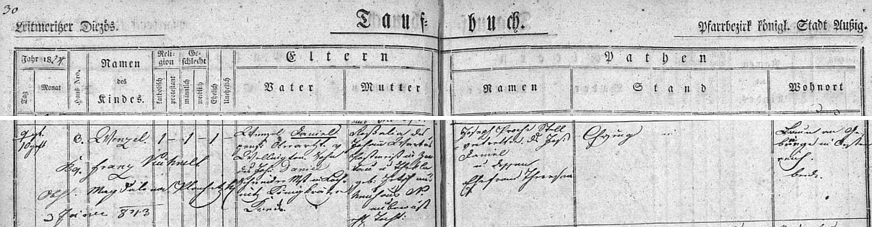 Záznam o jeho narození v křestní matrice z Ústí nad Labem