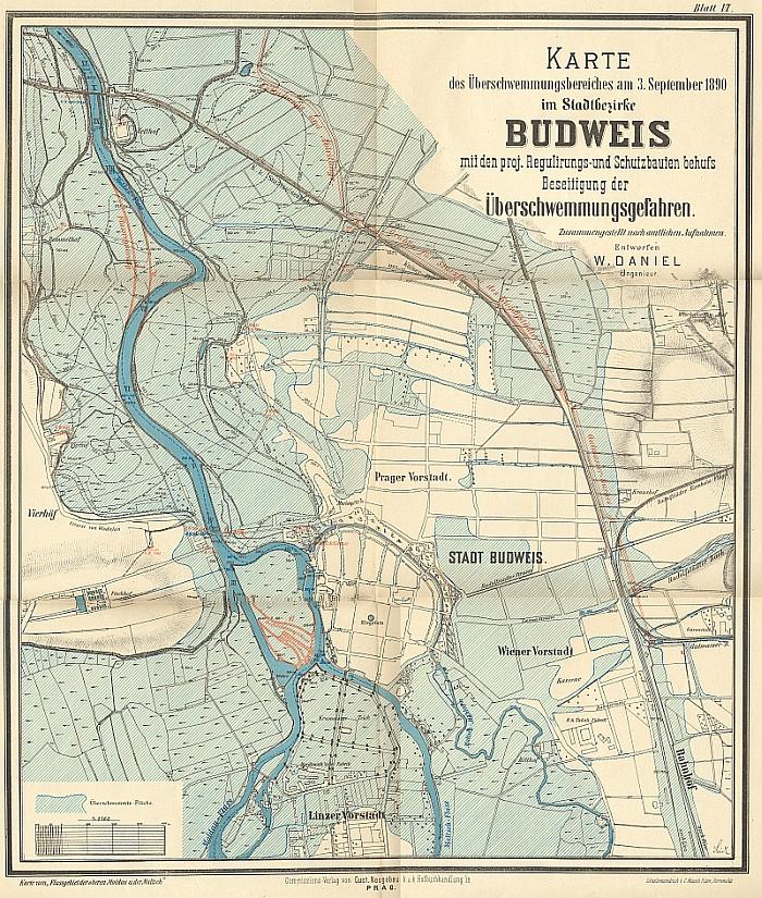 Pozoruhodná mapa rozsahu povodně z roku 1890 v Českých Budějovicích, kterou zpracoval
