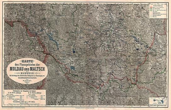 Představy o možnostech budování přehrad na horních tocích Vltavy a Malše na další mapě z jeho knihy (klikněte na náhled pro digitalizovanou mapu)