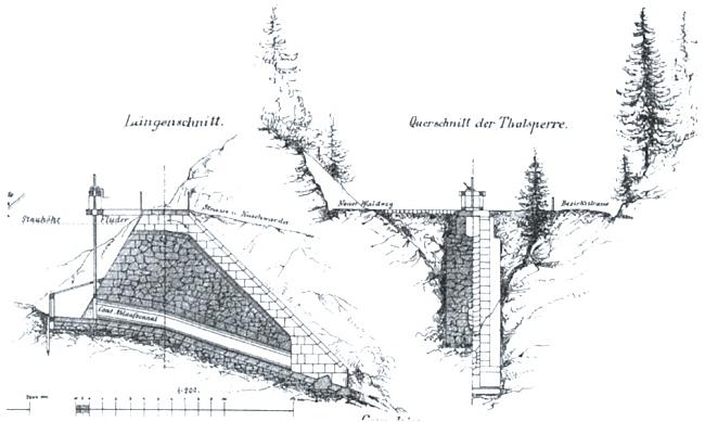 Jeho skica (podélný a příčný řez) zamýšlené hráze přehrady na potoce Kiesbach (dnes Častá) u Kunžvartu (dnes Strážný)