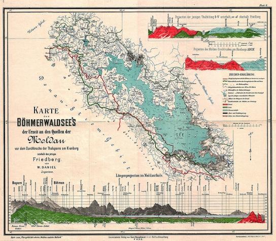 """Pravěké šumavské jezero v místech dnešního """"lipenského"""" na jeho mapě z roku 1892 (klikněte na náhled pro digitalizovanou mapu)"""