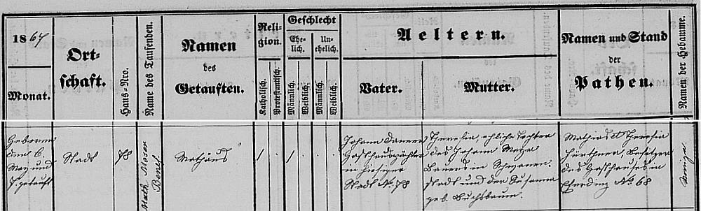 Záznam o jeho narození 6. května 1867 v křestní matrice farní obce Eferding