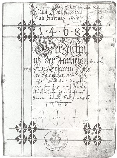 Titulní strana historiografického díla Davida Daublebského ze Sternecku z 1. poloviny 17. století