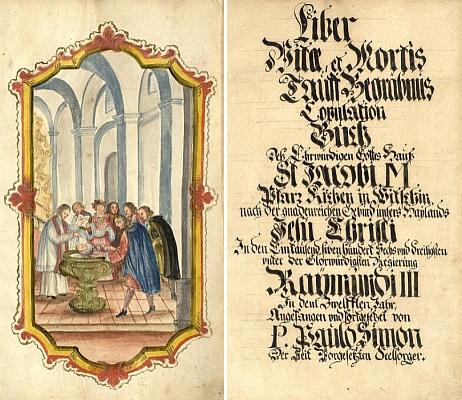 Titulní list a frontispis matriky farní obce Vidžín, obsahující záznam o jeho narození