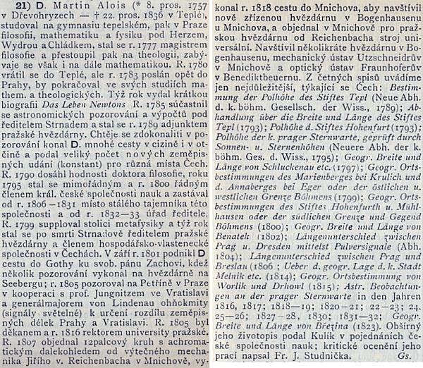 Jeho heslo v Ottově slovníku naučném od Dr. Gustava Grusse, adjunkta c.k. hvězdárny v Praze