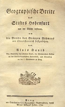 Titulní list jeho práce ve vydání z roku 1794