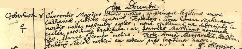 Záznam o jeho narození v Dřevohryzech na stránkách matriky farní obce Vidžín