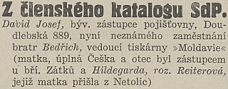 O jeho bratru Josefovi a o něm i jeho ženě Hildegard na stránkách listu Českobudějovické noviny z léta osudového roku 1938