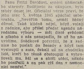Svědectví jeho syna o otcově smrti na stránkách listu Jihočeská pravda v článku Blanky Pirnosové z roku 1990