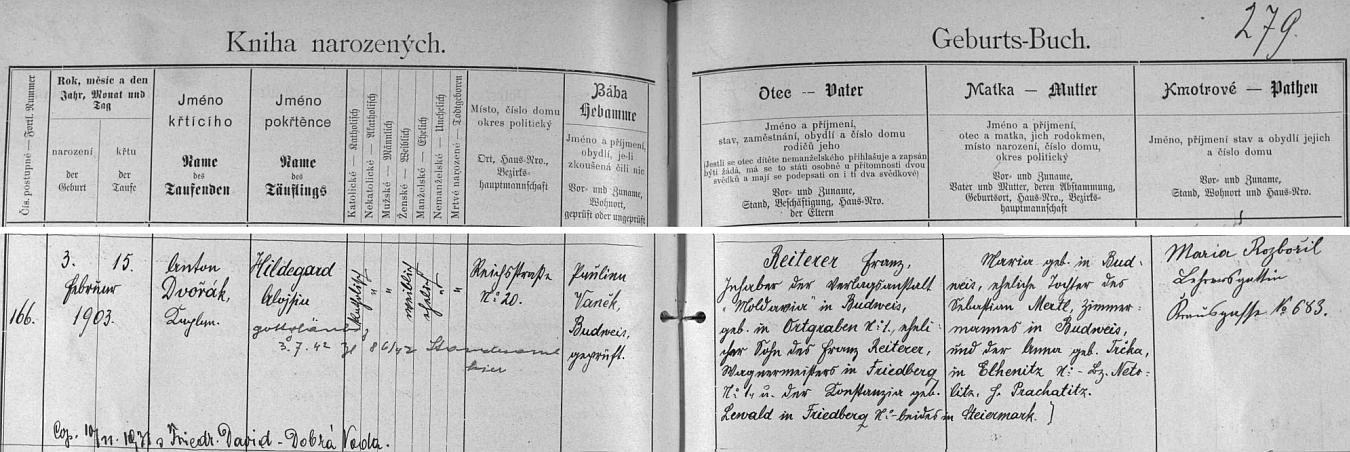 """Záznam českobudějovické křestní matriky o narození jeho manželky s dodatečným přípisem o její svatbě s ním roku 1931 """"in Dobrá Voda"""""""