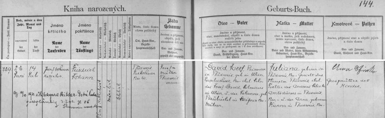 """Záznam českobudějovické křestní matriky o jeho narození s pozdějšími přípisy o svatbě v Dobré Vodě a o prohlášení se za pouhého """"věřícího v boha"""", zřejmě toho nacistického, (tj. """"gottgläubig""""), na stavovském úřadě 3. července roku 1942, tj. dva dny předtím, než byla vyhozena jistě i jeho vinou do povětří místní židovská synagoga"""