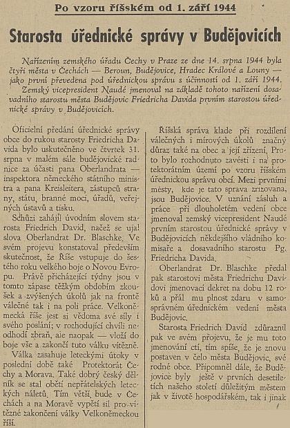 """Zpráva o jeho jmenování """"prvním starostou úřednické správy v Budějovicích"""", které už ztratily přívlastek """"České"""", na titulní straně protektorátního listu """"Jihočeská jednota"""""""