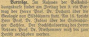 O jeho přednášce na téma geologie jižních Čech v roce 1919