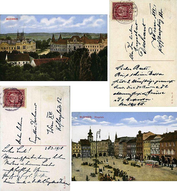 Dvě pohlednice, které mu byly poslány z Českých Budějovic do Vídně v březnu 1918